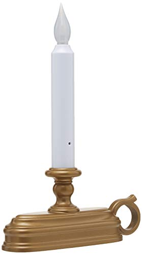 Xodus FPC1525B Battery Operated LED Window Candle with Sensor, White / Golden