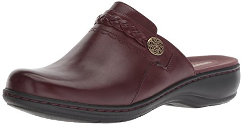 CLARKS Women's Leisa Carly Clog, Burgundy Leather, 085 M US