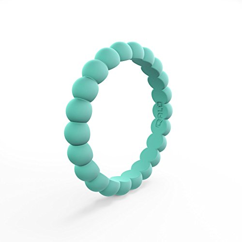 (QALO Women's Pacific Opal Bead Stackable Silicone Ring Size 09)