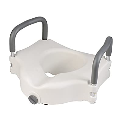 DMI Hi-Riser Elevated Locking Raised Toilet Seat with Armrests, 5 Inch Seat Height, White