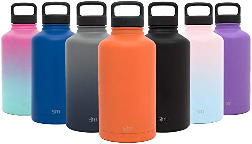 Simple Modern 64 oz Summit Water Bottle - Stainless Steel Half Gallon Flask +2 Lids - Wide Mouth Double Wall Vacuum Insulated Orange Leakproof -Autumn