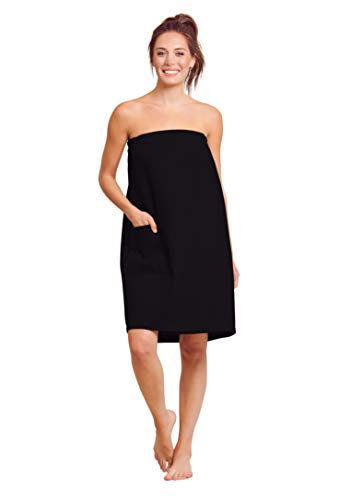 Women Waffle Spa/Bath Wrap with Pocket - Soft Lightweight Comfortable Adjustable Closure, Dry Fast (Large/X-Large, Black)