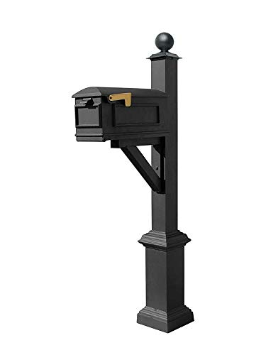 (Qualarc WPD-SB1-S4-LMC-BL Westhaven Cast Aluminum Post Mount System with Lewiston Mailbox, Square Base and Large Ball Finial, Ships in 2 Boxes, Black)