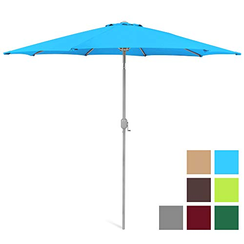 Best Choice Products 9ft Outdoor Water/UV-Resistant Market Patio Umbrella w/Crank Tilt Adjustment, 180G Polyester, Wind Vent, 1.5in Diameter Aluminum Pole - Light Blue