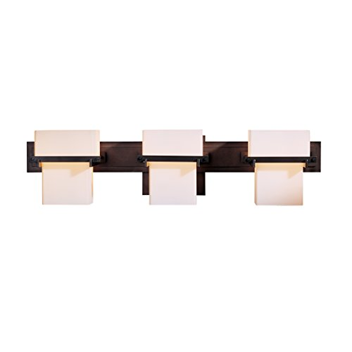 Hubbardton Forge 207833-1010 Kakomi 3 Light Sconce, Stone Glass Shade, Burnished Steel Finish Kakomi 3 Light