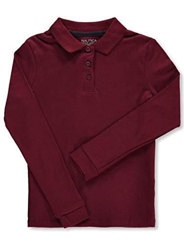 Nautica Big Girls' Knit Picot L/S School Uniform Polo - Burgundy, 8-10 (Uniform Shirts Girls Long Sleeved)