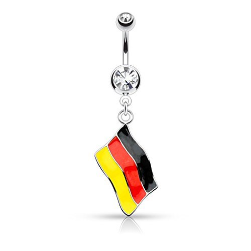 Inspiration Dezigns 14GA National Flag Dangle Double Jeweled 316L Surgical Steel Belly Button Rings (German Flag)