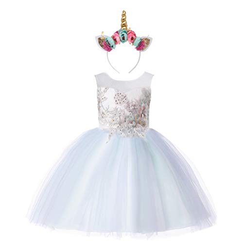 - Weileenice 2-14T Girls Costume Cosplay Dress Rainbow Tulle 3D Embroidery Beading Princess Dresses (7-8Years, Mint Green (with Headband))