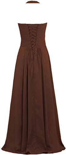 Brown Dresses ANTS Gowns Long Women's Halter Evening Chiffon Bridesmaid qnxqaIP8