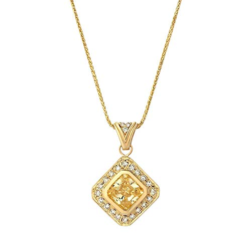 TousiAttar Diamond Pendant - 0.08 ct Real White Diamond Accents + CZ Center Stone -14k Yellow Gold Necklace - Affordable Gift Jewelry