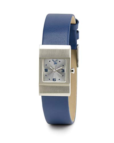 Silver Edifice Dress Watch - Youngblood Women's Miami VII Wrist Watch - Small Japanese Movement Timepeace with Mineral Glass Square Face Dial and Leather Bracelet - Silver Dial and Blue Band