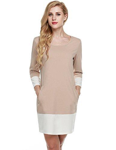 (Meaneor Women's 3/4 Sleeve O Neck Patchwork Dip Hem Casual Shift Dress (Camel S))