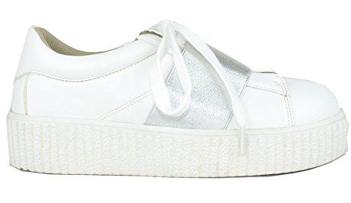 Chase & Chloe Womens Platform Creeper Fashion Sneaker White