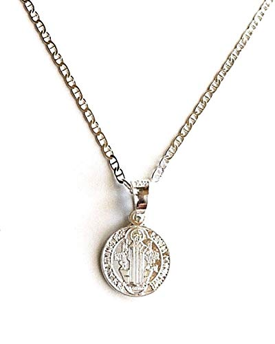 (925 Sterling Silver Saint Benedict Necklace 18