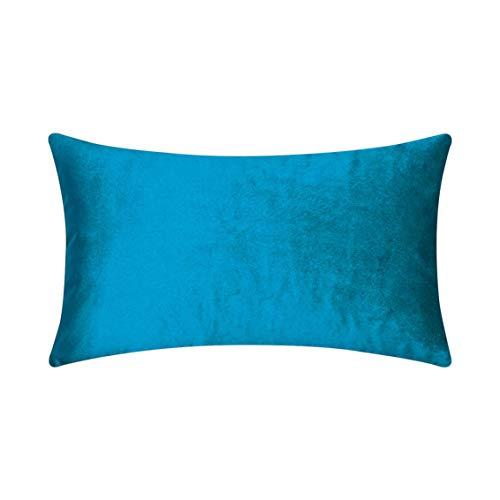 HOME BRILLIANT Velvet Oblong Lumbar Toss Pillow Cover Decorative Cushion Case for Chair Nursing Boy, 12
