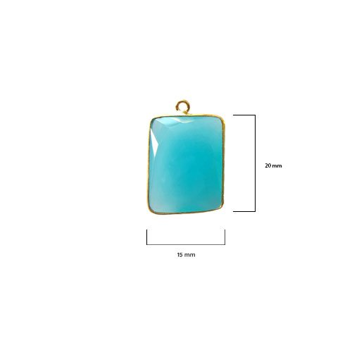 2 Pcs Blue Chalcedony Rectangle Beads 15X20mm 24K Gold Vermeil by BESTINBEADS, Blue Chalcedony Hydro Quartz Rectangle Pendant Bezel Gemstone Connectors Over 925 Sterling Silver Bezel Jewelry - Pendant Quartz Rectangle