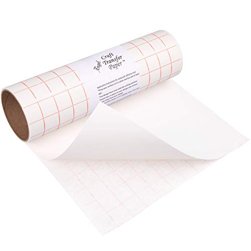 (Angel Crafts Transfer Paper Tape: Craft Transfer Tape for Vinyl Application with Red Grid Lines - Self Adhesive Transfer Paper Roll Compatible with Cricut, Silhouette Cameo - 12 Inch by 8 Feet, White)