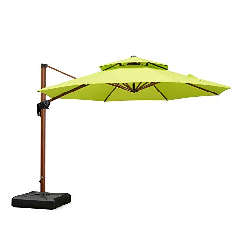 PURPLE LEAF 11 Feet Double Top Deluxe Wood Pattern Patio Umbrella Offset Hanging Umbrella Cantilever Umbrella Outdoor Market Umbrella Garden Umbrella, Lime Green