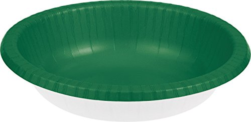 Creative Converting 173261 Touch of Color Paper Bowl, 20 oz, Emerald Green