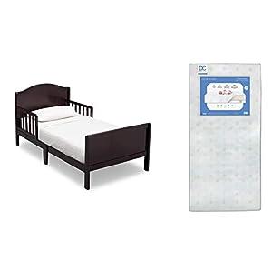 Delta Children Bennett Toddler Bed, Dark Chocolate + Delta Children Twinkle Galaxy Dual Sided Recycled Fiber Core Toddler Mattress (Bundle)
