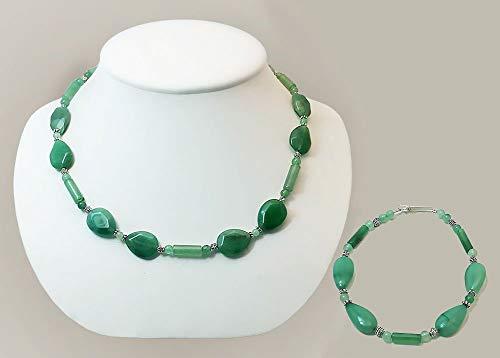 Aventurine Faceted Teardrop Necklace and Bracelet Set