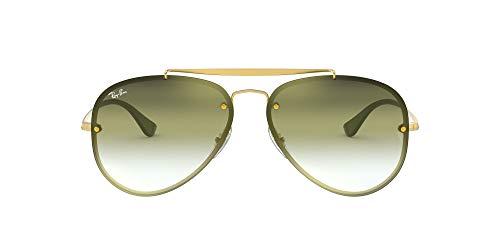 Ray-Ban RB3584N Blaze Aviator Sunglasses, Gold Demigloss/Green Grey Gradient Mirror, 58 mm