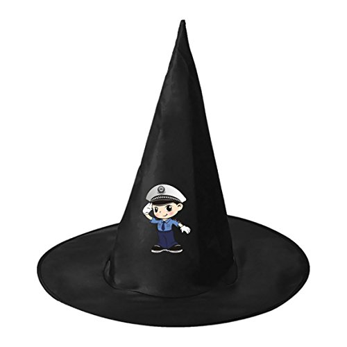 Box Tata Costume (Police Woman Unisex Halloween Adult Black Witch Hat Costume Accessory Magic Cap for Women Men)