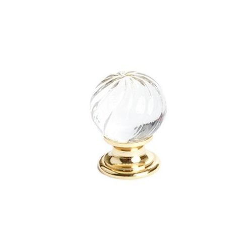 Berenson Europa Round Cabinet Knob, 30mm Diameter, Gold/Clear Crystal