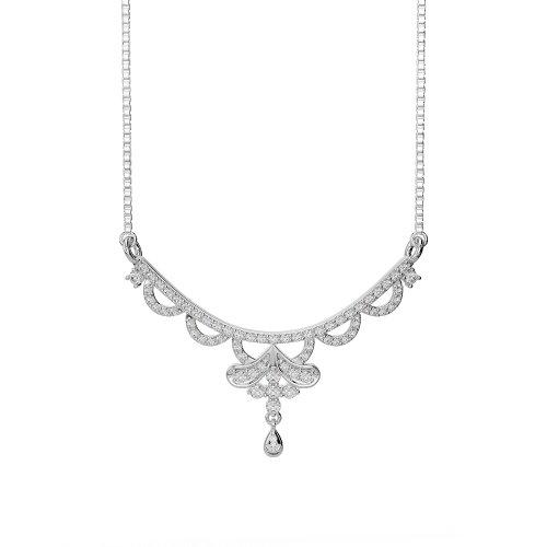 Or blanc/or jaune/Platine Diamant Collier avec chaîne dnc-2241-vsgh