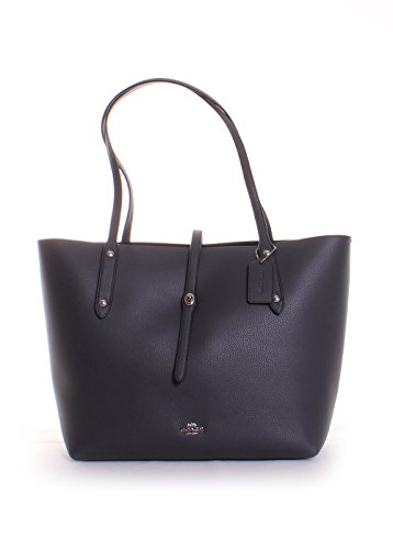 - COACH Women's Polished Pebbled Leather Market Tote Sv/Midnight Navy One Size