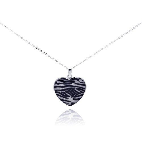(Double Accent Sterling Silver Enamel Zebra Print Heart Pendant Necklace )