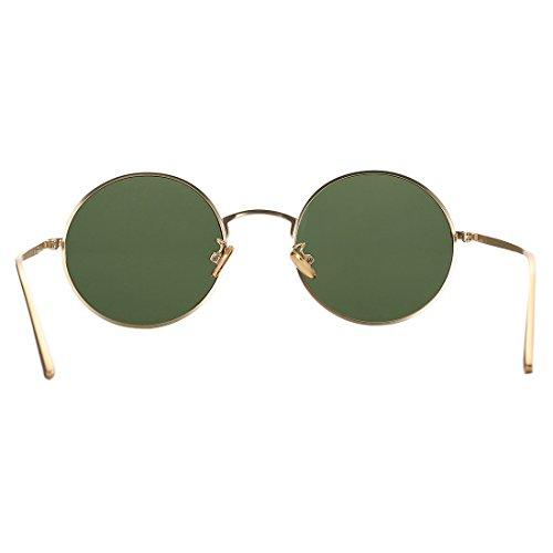 156a03c873f COASION Vintage Round Metal Sunglasses John Lennon Style Small Unisex Sun  Glasses (Gold Frame