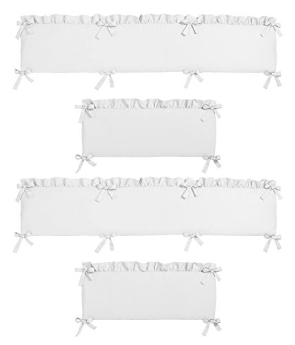Solid Color White Shabby Chic Baby Crib Bumper Pad for Harpe