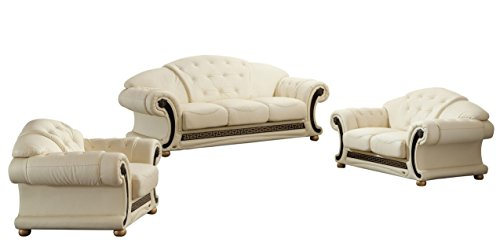 Soflex Ingrid-Lu Ivory Genuine Leather Sofa Set 3 Pcs Contemporary Luxury ()