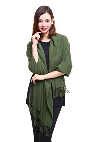 REEMONDE Womens Super Soft Long Shawl Solid Colors Warm Pashmina Big Scarf (Olive Green)