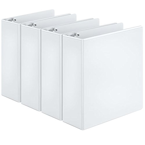 Cardinal Round Ring View Binder, 3-Inch, White, Pack of 4 Binders