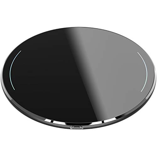 TOZO Wireless Charger Upgraded, Ultra Thin Aviation Aluminum [Sleep-Friendly] FastCharging Pad for iPhone Xs, XR, Xs Max, X, 8 Plus Samsung Galaxy S8-S10+, Note 8 9 [Black] - NO AC Adapter