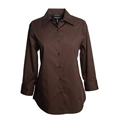 Foxcroft Woman's Plus 3/4 Sleeve CVC Solid Blouse Wrinkle Free Shaped Fit