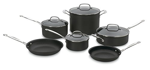 Cuisinart Anodized Cookware - Cuisinart 66-10 Chef's Classic Nonstick Hard-Anodized 10-Piece Cookware Set