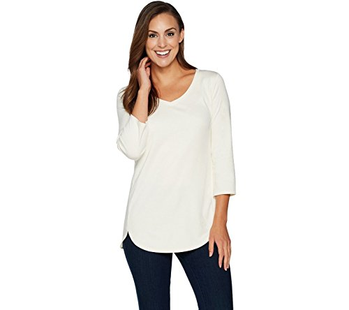 Isaac Mizrahi Essentials Pima Cotton V-Neck Tunic A293938, Cream, 2X (Pima Cotton Tunic)