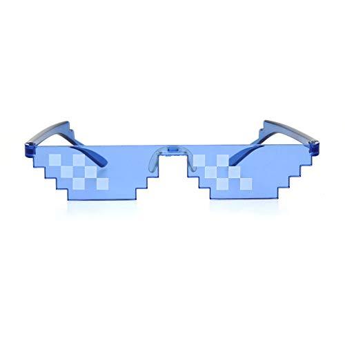 Nerdy Gamer Pixel Shape Narrow Plastic Funky Sunglasses Blue 6 Square (Square 6sq)