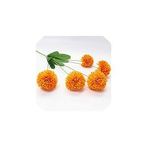 Fashion-LN Flocking Dandelion Artificial Flower Pompom Autumn Velvet Ball Onion Flower Ball Wedding Decor,Orange 95