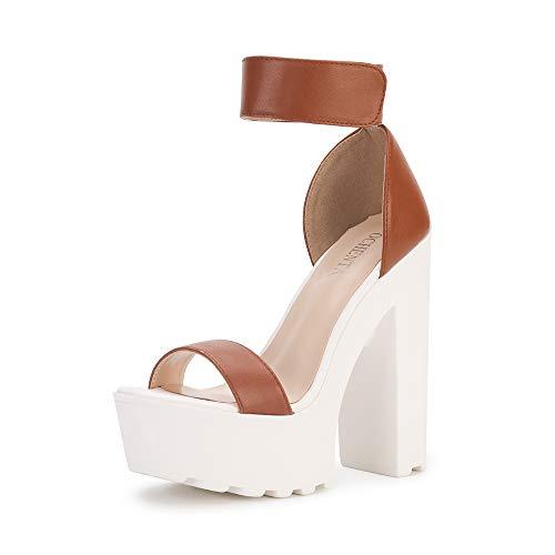 - OCHENTA Women's Fashion Platform Lug Sole Chunky High Heel Sandals Brown Tag Size 35 - US B(M) 4.5