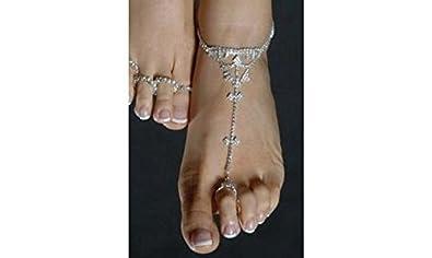 Fabuleux CHE13]Chaine de cheville argentée bague de doigt de pied parure de  KN79