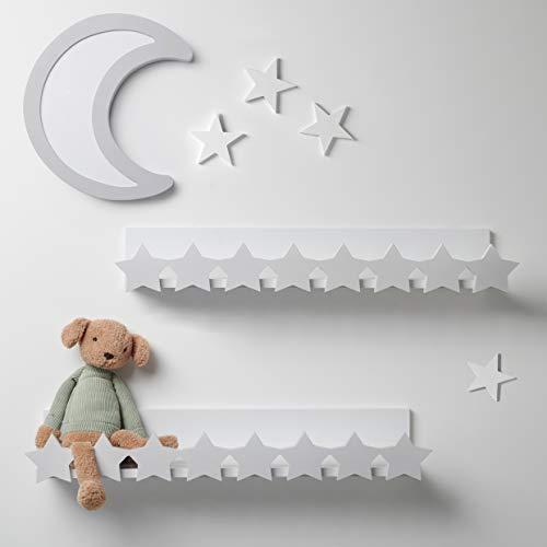 7 Ruby Road Decorative Floating Book Shelves for Nursery, Kids Bedroom, Teen, Home Decor - Mounted Wall Shelf, Cute Star Design - Wooden Ledge Shelf, Hanging Shelf -Set of 2, Eco-Friendly, White