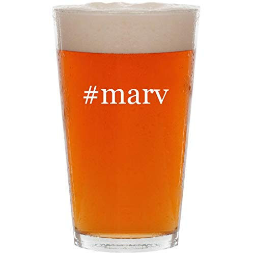 #marv - 16oz Hashtag All Purpose Pint Beer Glass (Messy Marv Cake And Ice Cream 2)