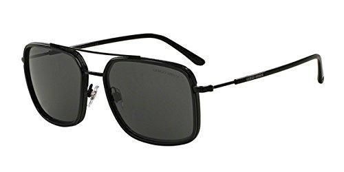 Giorgio Armani Lunettes de soleil aviateur carrés en noir mat AR6031 300187 58 Noir (Black 300187)