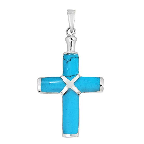 Silver Turquoise Inlay Sterling Blue (AeraVida Christian Cross Simulated Turquoise Inlay .925 Sterling Silver Pendant)