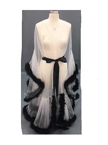 Sexy Feather Bridal Robe Tulle Illusion Long Wedding Scarf New Custom Made (Champagne+Black, Medium)]()