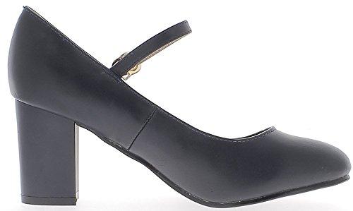 ChaussMoi Retros Zapatos Azules con Tacón DE 7.5 cm de Reborde Delgado